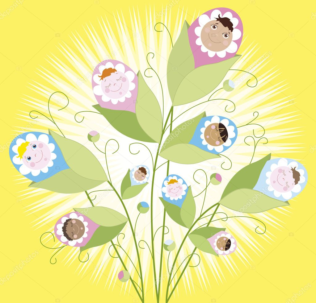 Illustration of a babies growing on a buch  Stock Vector #6844010