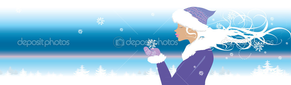 Winter banner with girl holding snowflake — Stock Vector #6844280