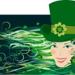 Stock Vector: Leprenauch Lady on St Patrick Day