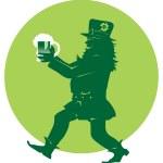 Leprechaun bringing beer on st. Patric Day — Stock Vector #6880319