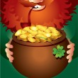 Leprechaun on Patrick — Stock Vector