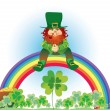 Stock Vector: Leprechaun on rainbow