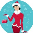 Santa-girl — Vector de stock