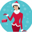 Santa-girl — Stockvector
