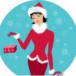 Santa-girl — Stock Vector