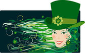 Leprenauch Lady on St Patrick Day — Stock Vector