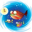 Suspiciuos fish — Stock Vector