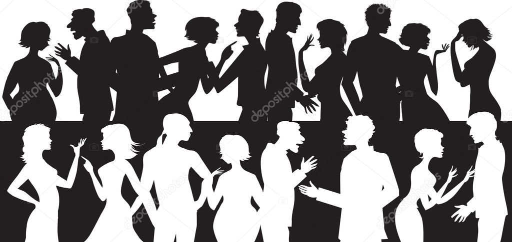Silhouettes of talking and arguing each other — Stock Vector #7424434