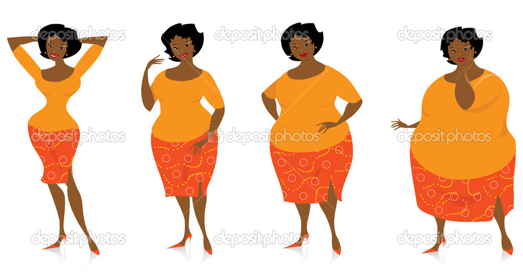 Vector illustration of four stages of slimming lady — Stock Vector #7527986