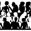 Stock Vector: Silhouettes at cafe