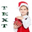 Beautiful girl in the hat of Santa Claus — Stock Photo #7949034