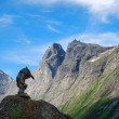 Stock Photo: Wooden troll against mountain crest and blue sky. Trollstigen.