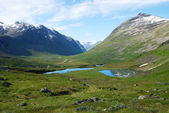 Mountain gentle slope with small lakes. Norway. — Stock Photo
