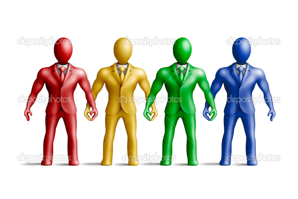 Multicolored plasticine businessmen figures on a white background — Stock Photo #6965019