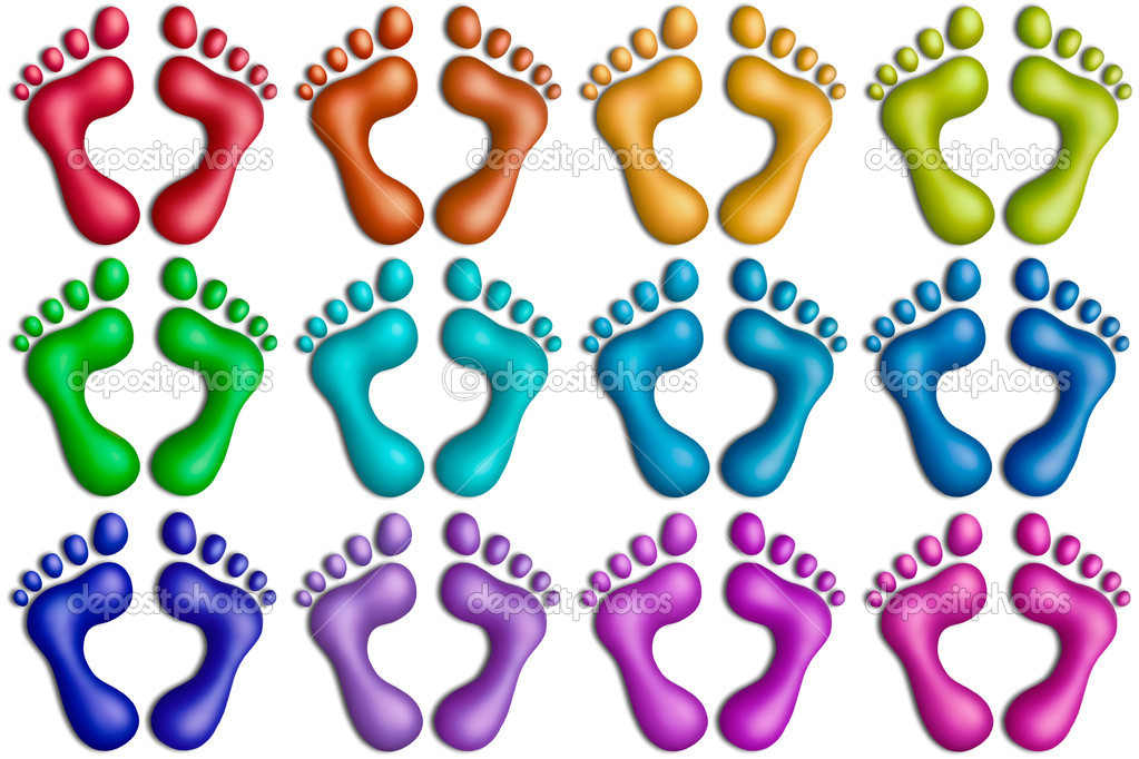 Displaying (20) Gallery Images For Colorful Footprints...