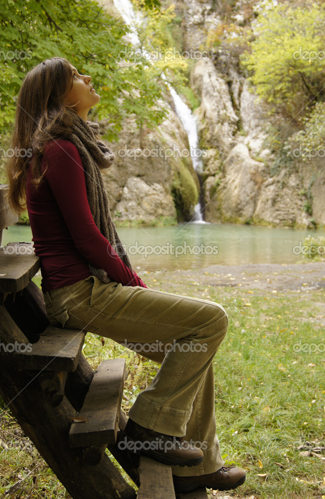 Beautiful young woman contemplating in nature  Stock Photo #7393352