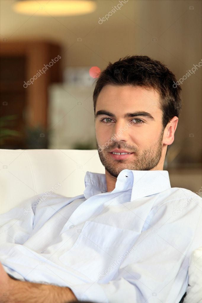 A man reposing at home  Stock Photo #7025956