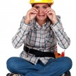 Royalty-Free Stock Photo: A sobbing tradeswoman
