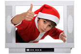 Portrait of a kid in Santa Claus costume — Stock Photo