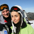 Teenagers on a ski vacation — Stock Photo