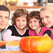 Family carving pumpkins — Stock Photo