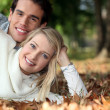 Stock Photo: Young couple lying on the grass together