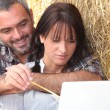 Royalty-Free Stock Photo: Farming couple sat with laptop computer