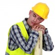 Construction worker sleeping — Stock Photo
