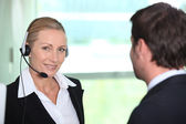 Interpreter with client — Stock Photo