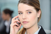 Closeup of woman on cellphone — Stock Photo