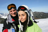 Teenagers on a ski vacation — Stockfoto