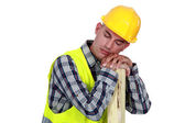 Construction worker sleeping — Stock Photo
