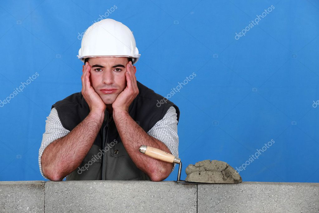 A frustrated bricklayer  Stock Photo #7132642