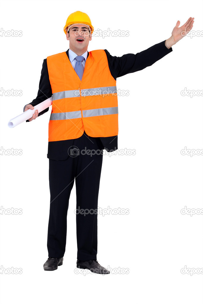 Full-length portrait of architect with stretched arm — Stock Photo #7133888