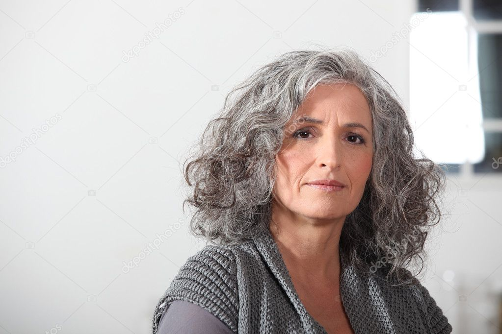stock photo portrait young older woman
