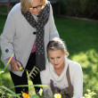 Stock Photo: Mother and daughter gardening