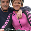 Mature cyclist couple — Stock fotografie #7230454