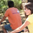 Portrait of a young girl on a bike — Stock Photo #7230470