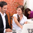 A business meeting in a restaurant — Stock Photo