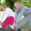 Foto Stock: Couple doing sport