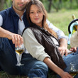 Couple having bottle of wine in field — Stock Photo #7362617
