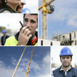 Montage of a team of building workers — Stock Photo