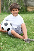 Little boy with a football — Stock Photo