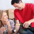 Stock Photo: Couple drinking champagne