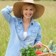 Woman walking with vegetable basket — Stock Photo #7375260