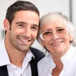Royalty-Free Stock Photo: Adult son and his aging mother