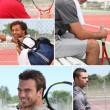 Collage of tennis players — Stock Photo
