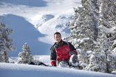 Man slipping on the snow — Stock Photo