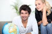 Par söker vid Globen — Stockfoto