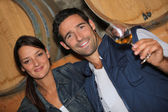 Genç bir çift bir mahzeni şarap tadımı — Stok fotoğraf